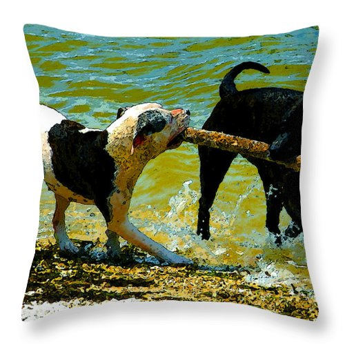 Art Throw Pillow featuring the painting Best Friends by David Lee Thompson