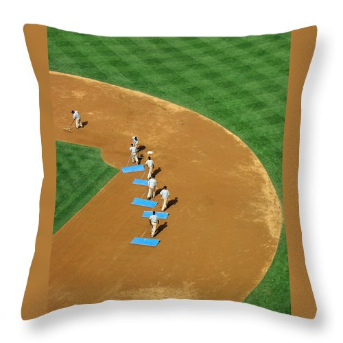 Sports Throw Pillow featuring the photograph Between Innings by Mike Martin