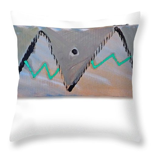Tsunami Throw Pillow featuring the painting Between The Mountains And The Fishes by Charles Stuart