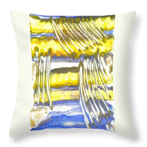 Blue Yellow Gold Abstract Expressionist Process Throw Pillow featuring the painting Beyond by Heather Hennick