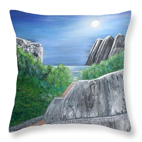 Rocks Throw Pillow featuring the painting Beyond the Rock by Debbie Levene