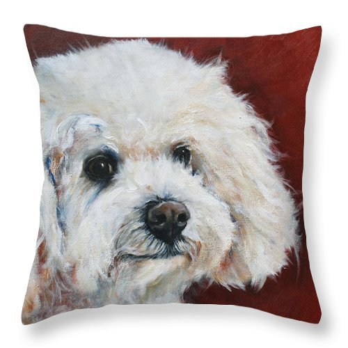 Canine Portrait Throw Pillow featuring the painting Bichon Poo by Julie Dalton Gourgues