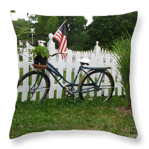 Bicycle Throw Pillow featuring the photograph Bicycle And Picket Fence by Jack Schultz