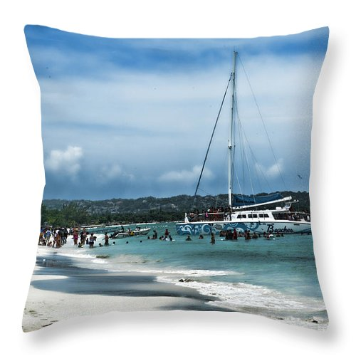 Jamaica Throw Pillow featuring the photograph Big Beautiful Boat by Sheri Bartoszek