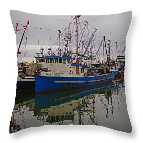 Fishing Boats Throw Pillow featuring the photograph Big Blue Fishing Boat by Randy Harris