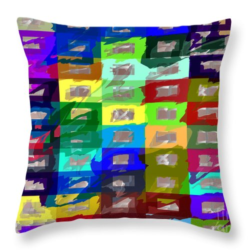 Rectangles Throw Pillow featuring the digital art Big Box Stores by Dee Flouton