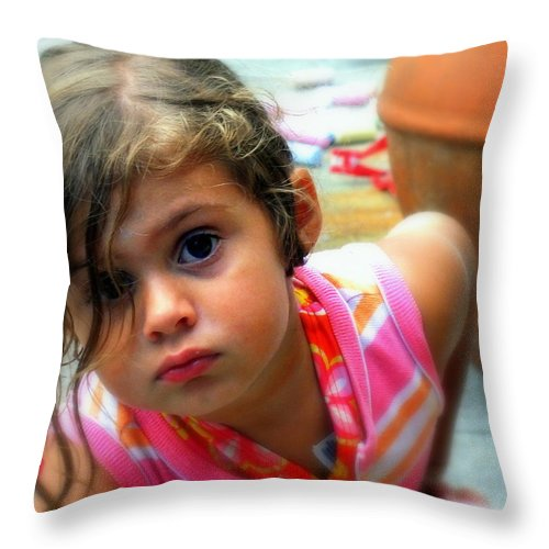 Portraits Throw Pillow featuring the photograph Big Brown Eyes by Karen Wiles