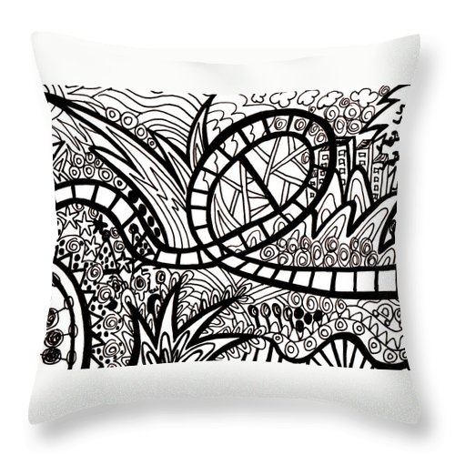 Roller Coasters Throw Pillow featuring the drawing Big Dipper by Karen Elzinga