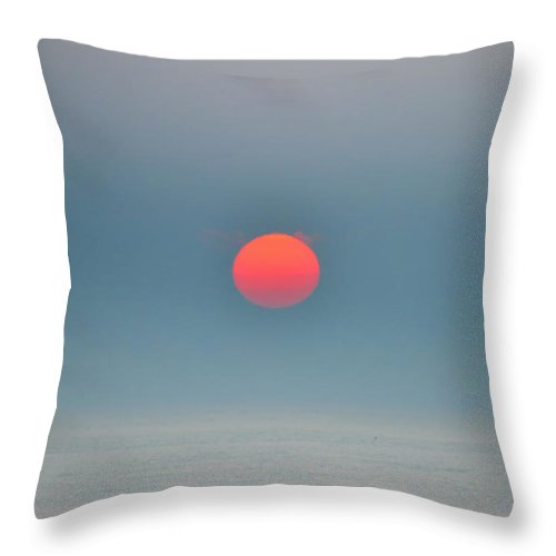 Big Red Sun Throw Pillow featuring the photograph Big Red Sun - Sea Isle New Jersey by Bill Cannon