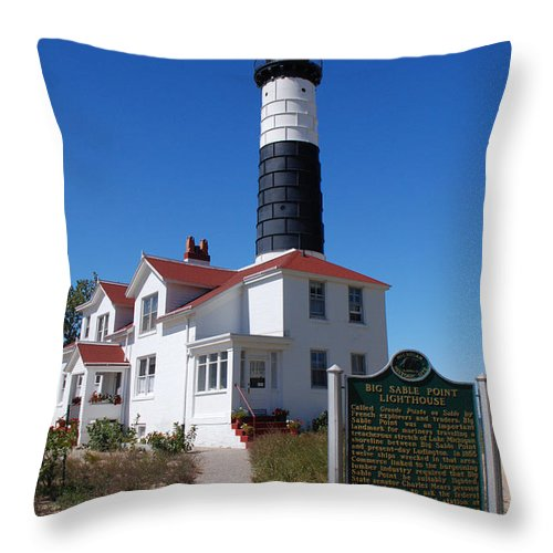 Lighthouse Throw Pillow featuring the photograph Big Sable Point Lighthouse by Grace Grogan