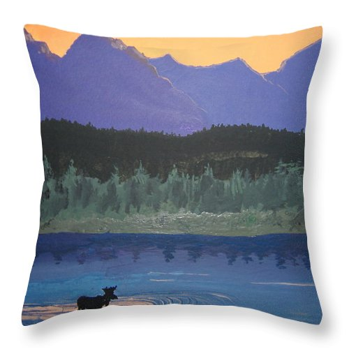 Montana Throw Pillow featuring the painting Big Sky Country by Norm Starks