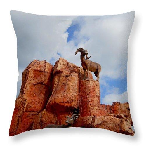 Big Thunder Mountain Throw Pillow featuring the photograph Big Thunder Bighorns by Rachel Kaufmann