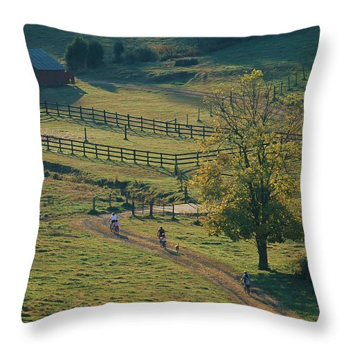 Scenes And Views Throw Pillow featuring the photograph Bikers On Dirt Road, Pocahantas County by Skip Brown