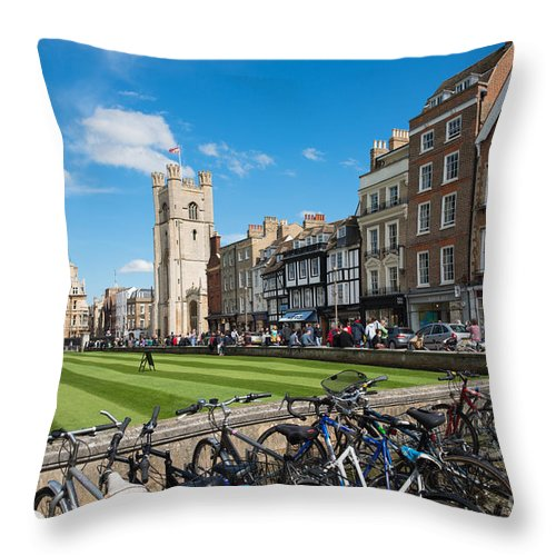Cambridge Throw Pillow featuring the photograph Bikes Cambridge by Andrew Michael