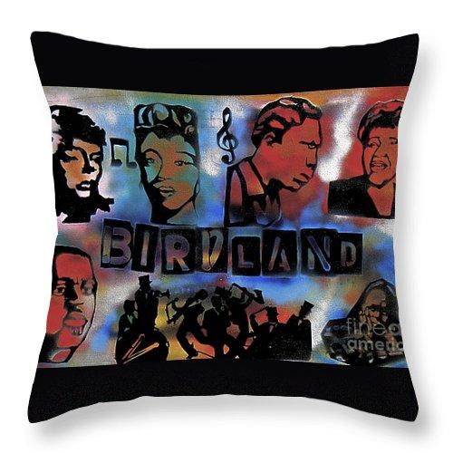 Jazz Throw Pillow featuring the painting Birdland by Tony B Conscious