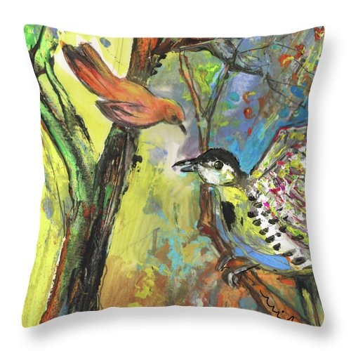 Animals Throw Pillow featuring the painting Birds 03 by Miki De Goodaboom