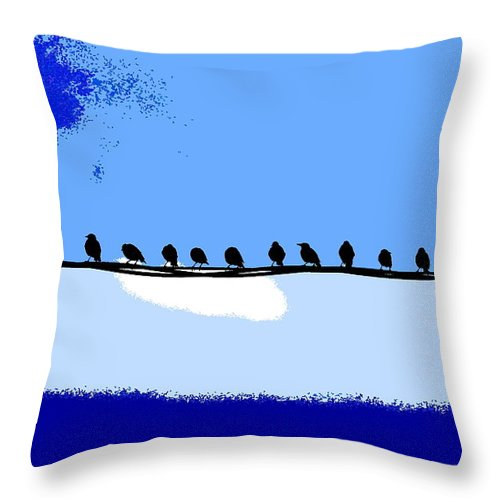 Birds Throw Pillow featuring the photograph Birds On Wire by Burney Lieberman
