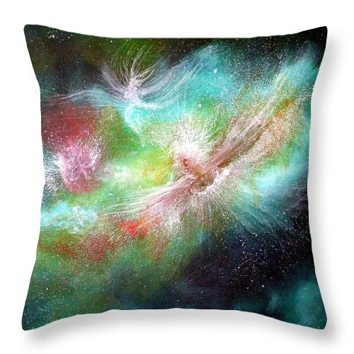 Angels Throw Pillow featuring the painting Birth Of Angels by Naomi Walker