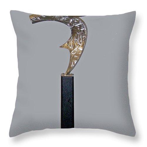 Metal Sculpture Throw Pillow featuring the sculpture Birth Of The Phoenix by John Neumann