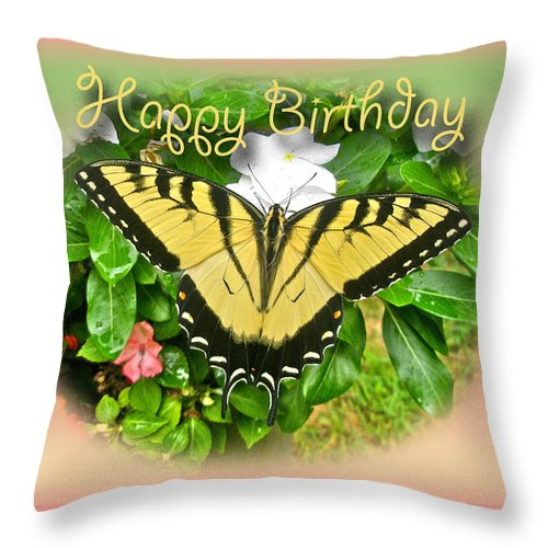 Birthday Throw Pillow featuring the photograph Birthday Greeting Card - Tiger Swallowtail Butterfly by Mother Nature