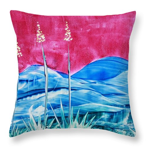 Encaustic Throw Pillow featuring the painting Bisbee by Melinda Etzold