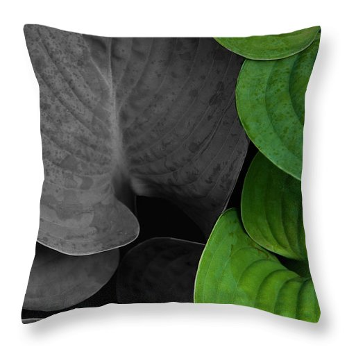 Black And White Throw Pillow featuring the photograph Black And White And Green Leaves by Mike Nellums