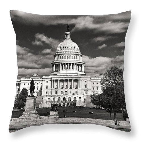 Us Capitol Throw Pillow featuring the photograph Black And White Capitol by Jim Moore