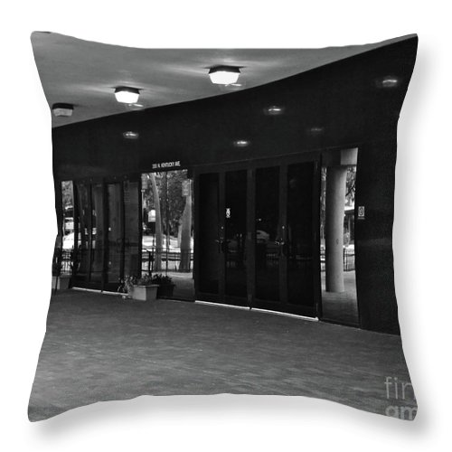 Doors Throw Pillow featuring the photograph Black And White by Carol Bradley