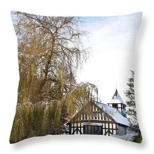 St Peter's Church Throw Pillow featuring the photograph Black And White Church Melverley by Sheila Laurens