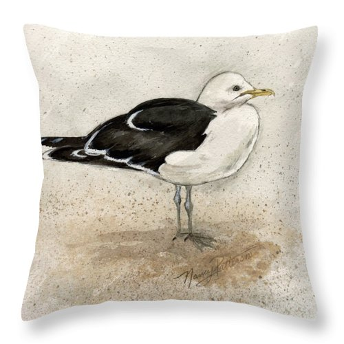 Seagull Throw Pillow featuring the painting Black Backed Gull by Nancy Patterson