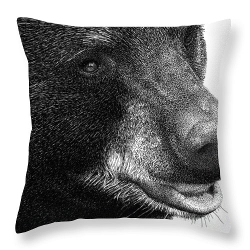 Black Bear Throw Pillow featuring the drawing Black Bear by Scott Woyak