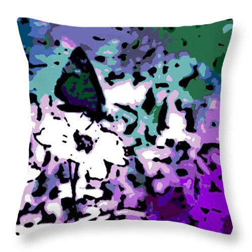Black Throw Pillow featuring the photograph Black Butterfly by George Pedro