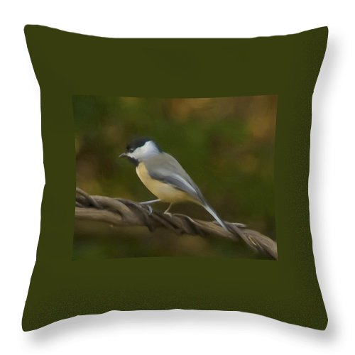 Black-capped Chickadee Throw Pillow featuring the painting Black-capped Chickadee by Steven Richardson