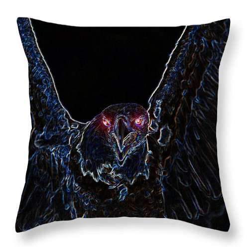 Art Throw Pillow featuring the painting Black Eagle Vision by David Lee Thompson