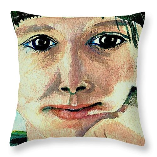 Portraits Throw Pillow featuring the painting Black Eyed Young Girl by Ion vincent DAnu