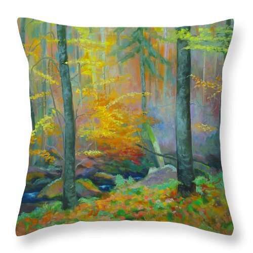 Forest Throw Pillow featuring the painting Black Forest Stream by Dai Wynn