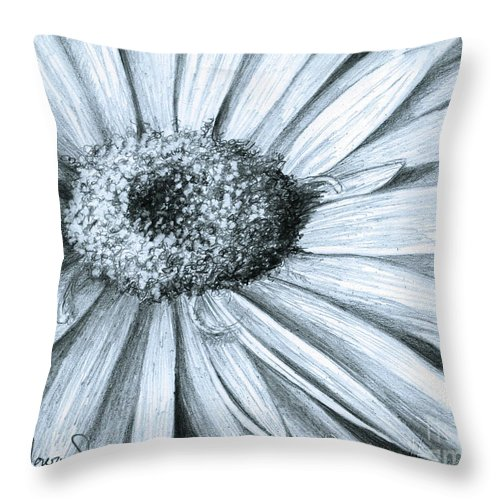 Flower Throw Pillow featuring the drawing Black White Gerber by Phyllis Howard
