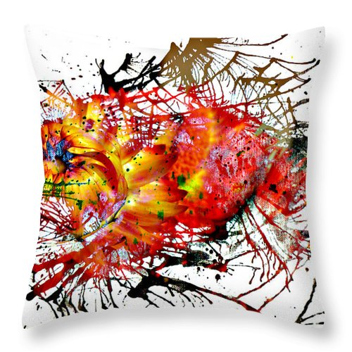 Jerry Cordeiro Photographs Photographs Framed Prints Photographs Photographs Photographs Throw Pillow featuring the photograph Bleeding Petals by The Artist Project