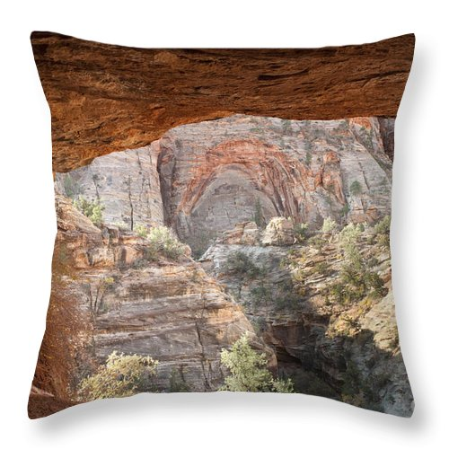 Zion Throw Pillow featuring the photograph Blind Arch Overlook by Sandra Bronstein