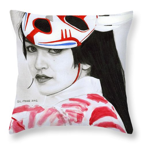 Cosplay Throw Pillow featuring the drawing Bloodmoon Akali by Gil Fong