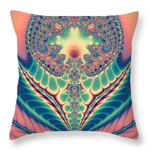 Fractal Throw Pillow featuring the digital art Bloom by Betsy Knapp