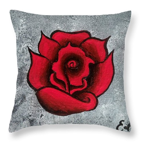 Rose Throw Pillow featuring the painting Blooming Beauty by Oddball Art Co by Lizzy Love