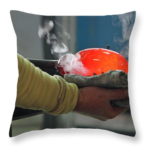 Blown Glass Throw Pillow featuring the photograph Blowing Glass IIi by Suzanne Gaff