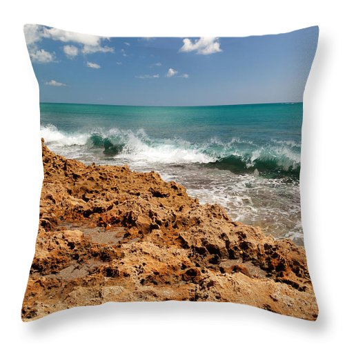 Blowing Rocks Throw Pillow featuring the photograph Blowing Rocks Jupiter Island Florida by Michelle Constantine