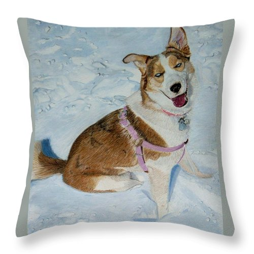 Art+prints Throw Pillow featuring the painting Blue - Siberian Husky Dog Painting by Patricia Barmatz