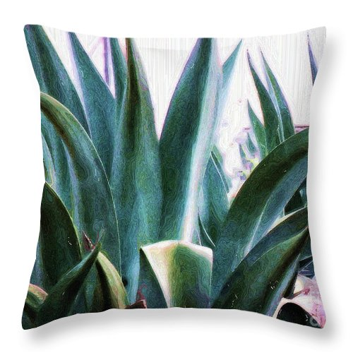 Agave Plant Throw Pillow featuring the photograph Blue Agave by Amber Stubbs