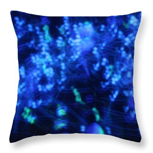 Bindu Throw Pillow featuring the photograph Blue Big Bang by Pat Purdy