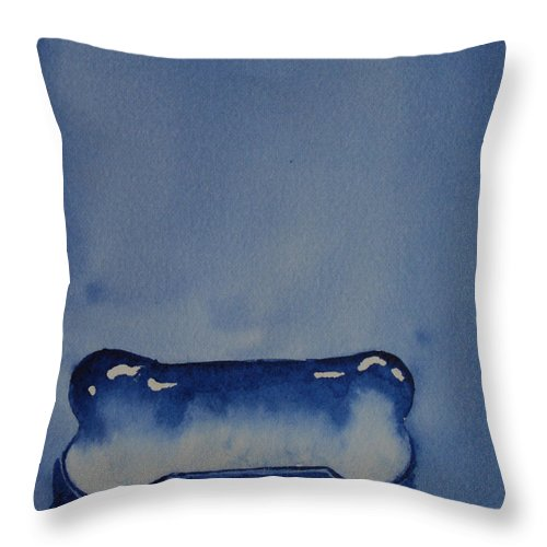 Dog Bone Throw Pillow featuring the painting Blue Bone by Susan Herber