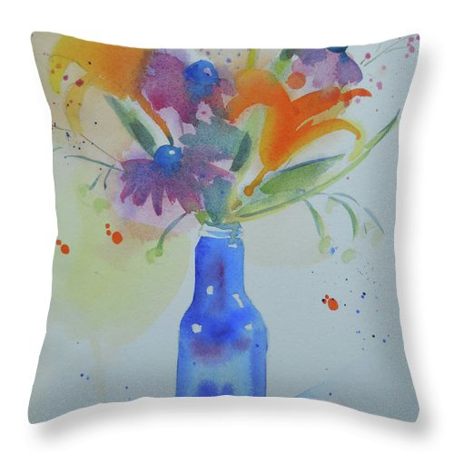 Daylily Throw Pillow featuring the painting Blue Bottle Bouquet by Amy Householder