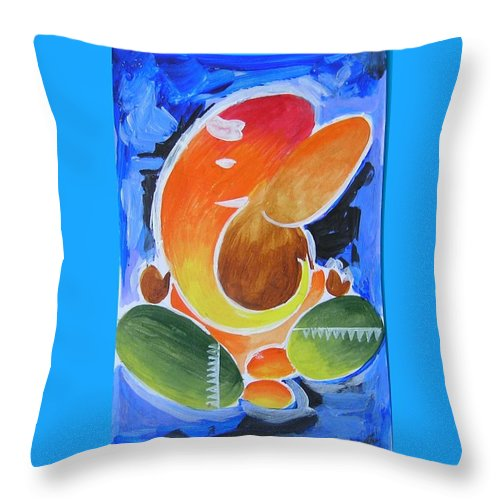 Elephant God Throw Pillow featuring the painting Blue Elephant Abstraction by Chintaman Rudra